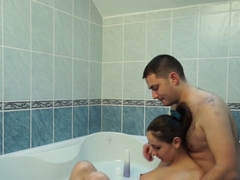 Anka in hot couple fucking passionately while in a bath