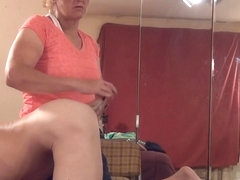 woman films guy beating off