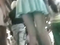 Amateur upskirt vid with two incredible teens