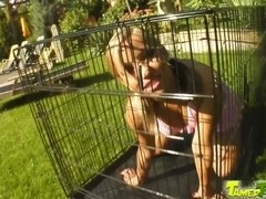 Tamed Teens Caged cutie let out for fucking and cum feed