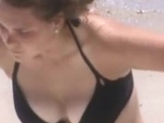 huge jiggly beach boobs caught lotioning
