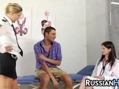 Russian Nurse And Officer Dominating A Guy