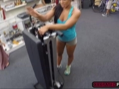 Fit latina sucks a cock and gets pumped as she works out with big dick