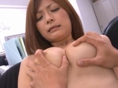 Naked and busty office girl Haruki Sato showing off her junks and seducing naughty guys