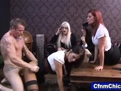 Cfnm babe gets ass cumshot
