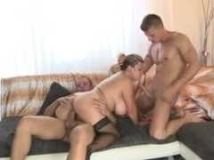 Hot mom with massive melons 3some