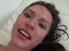 Brunette does blowjob and her globes is screwed rough