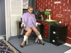 Amazing blonde secretary gets tied in the office