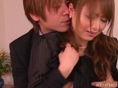 Japanese milf Akiho Yoshizawa gives a hardcore blowjob