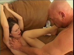 Papa - Foot Job Wench Gags On Prick