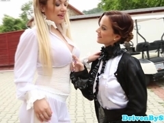 Femdom busty glamour babes get cock in jacuzzi