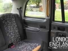 Beautiful British girl deep throats in fake taxi