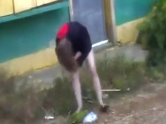 Voyeur tapes a crazy girl stripping off her clothes in public