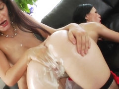 Fisted enema les squirting whipcream out ass