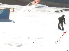 Badass babes snowboarding while naked and frisky fishing