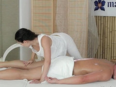 Beautiful Ivy does a professional massage to her lover