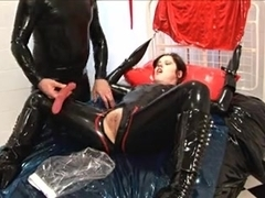 Adorable slut in kinky toying BDSM session