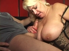 Massive racked golden-haired aged underware doxy sucks ding-dong and smokes cigarette