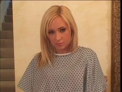 Blond sweetheart group-fucked by a large weenie on the stairs
