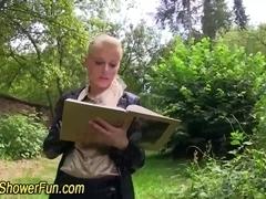 Blonde slut guzzles urine