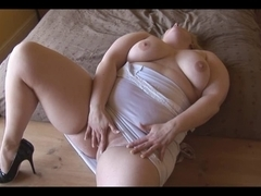 Breathtaking smooth big beautiful woman plays with her love tunnel