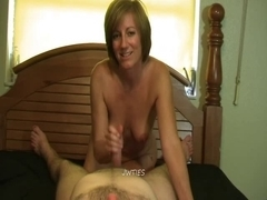 Aged footjob Molly - cum on her soles