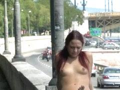 Naked hottie Tereza walks in the streets