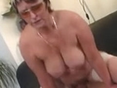 Granny in Glasses and Nylons Engulf and Fuck