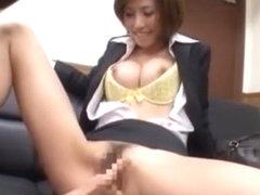Horny Japanese model Akari Asahina in Fabulous Fingering, Secretary JAV movie