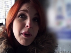Spanish redhead amateur in public flashing titties