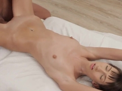 Super slim and skinny girl Tanielle gently sucks and gets fucked in the ass