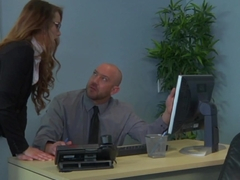 Office babe facialized after fucked on desk