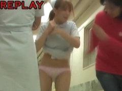 Pretty teen nurse got her short uniform dress pulled up