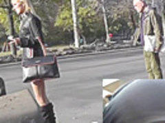 Blonde filmed by upskirt camera in the public transport