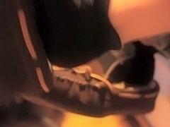 Shoe play black sock strip tease