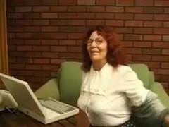 Horny old lady in glasses just loves masturbating on camera