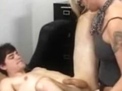 MILF dominatrix fucks her male sissy slave
