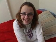 Cute gal in eyeglass gangbanged by hard jock