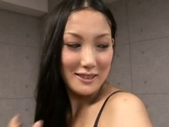 Tall Japanese girl fucks small men