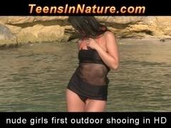 Brunette in hot striptease number