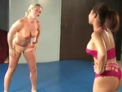 Lesbo wrestling, loser fked 5