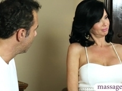 Busty brunette MILF squirts and gets anal fucked at the spa
