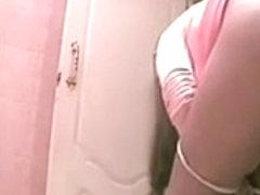 Hidden camera in babes's throne-room captures sexy babes exposing twats
