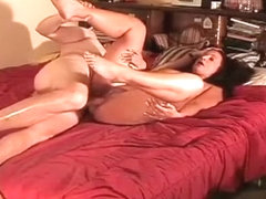 Redhead girl proudly shows off her vaginal creampie after a wild kamasutra style sex session