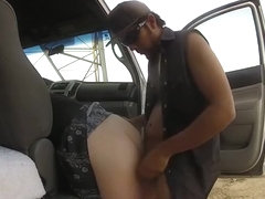 Doggystyle quickie on the side of the car in the desert
