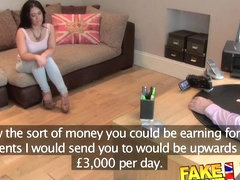 FakeAgentUK Pretty girl takes a massive facial