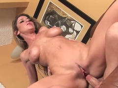 Pretty and busty chick Kayla Paige gets a dick and a sweet cunnilingus