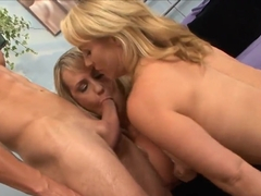 Two displeased pornstars banging and pleasing this guy