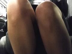 Business Class Upskirt sheer legs