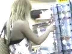 Tan blonde asian gets skirt sharked in a crowded place.